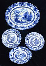 Flow Blue Doulton Madras Platter and Three Plates