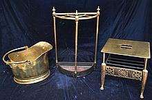 Brass Lot Including Umbrella Stand Fireplace Spider etc