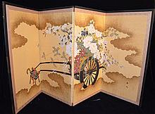Gumps 4 Panel Japanese Painted Screen