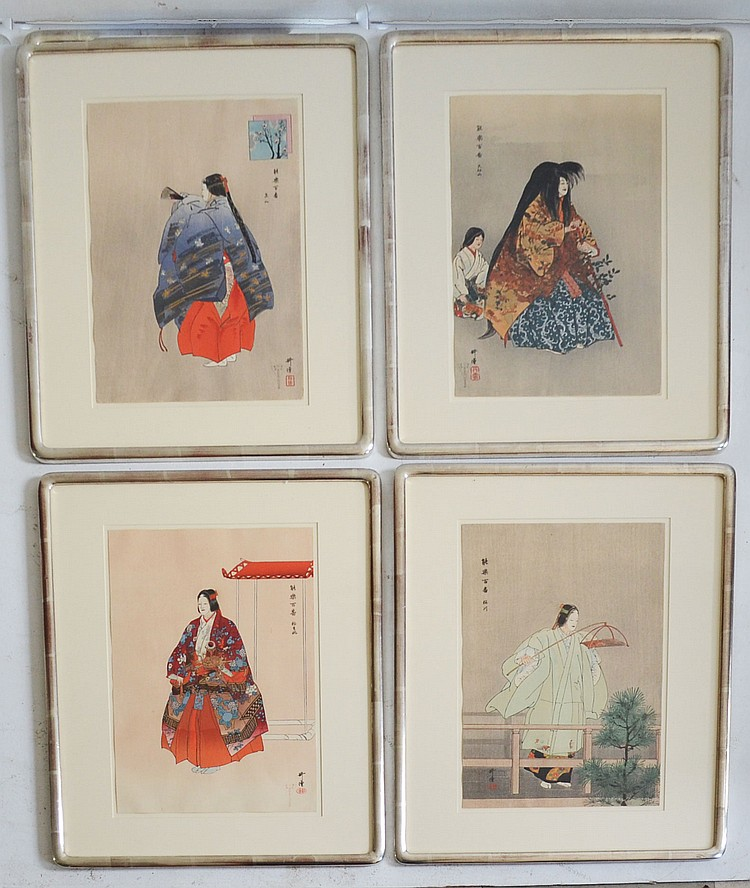 4 Kogyo Japanese Kabuki Opera Woodblock Prints
