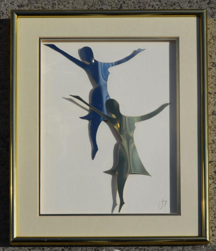 Signed Metal Cut Out Ballet Dancers, Signed