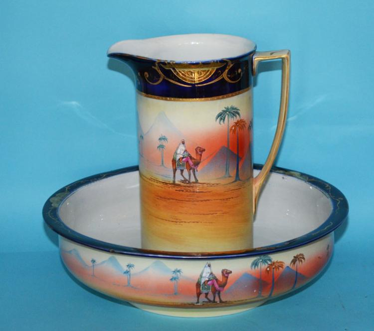 Large Egyptian Scene Noritake Porcelain Pitcher & Bowl