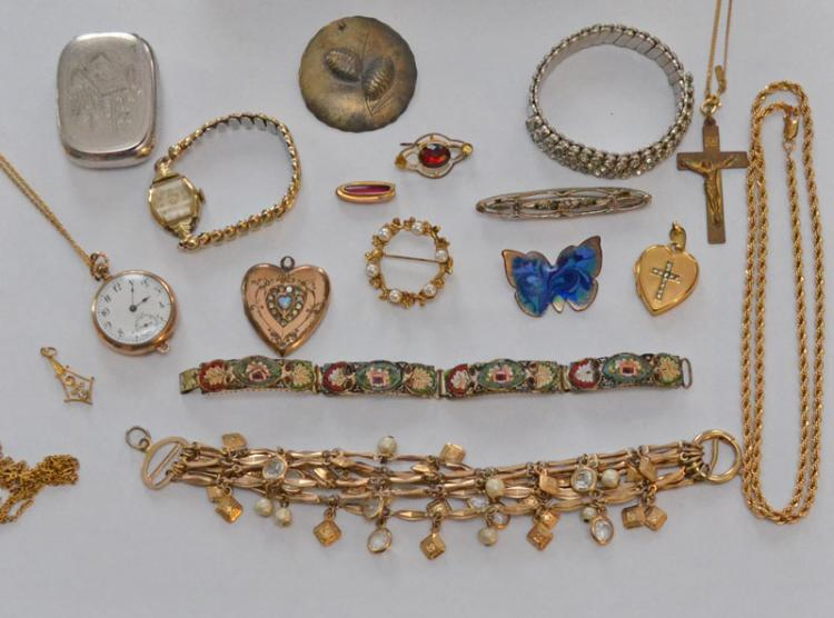 Lot of Costume Jewelry (Micro-mosaic, Pins, Watches)