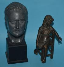 2 Statues Ruth Yates Franklin D. Roosevelt Bust & Bronze Girl