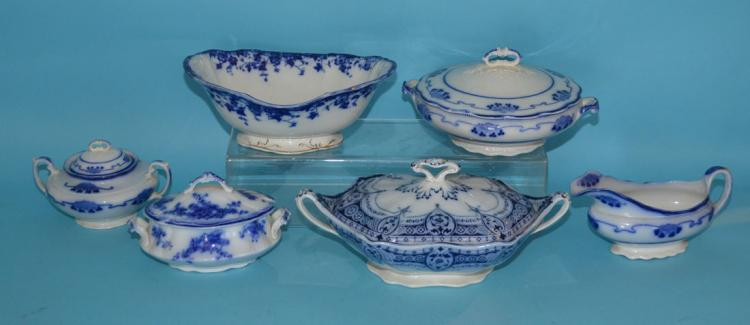 6 Pieces of Flow Blue (Covered Tureens, Serving Pieces)