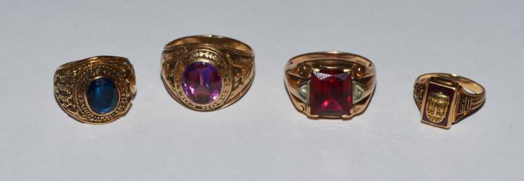 Lot of Four 10k Gold Glass Rings