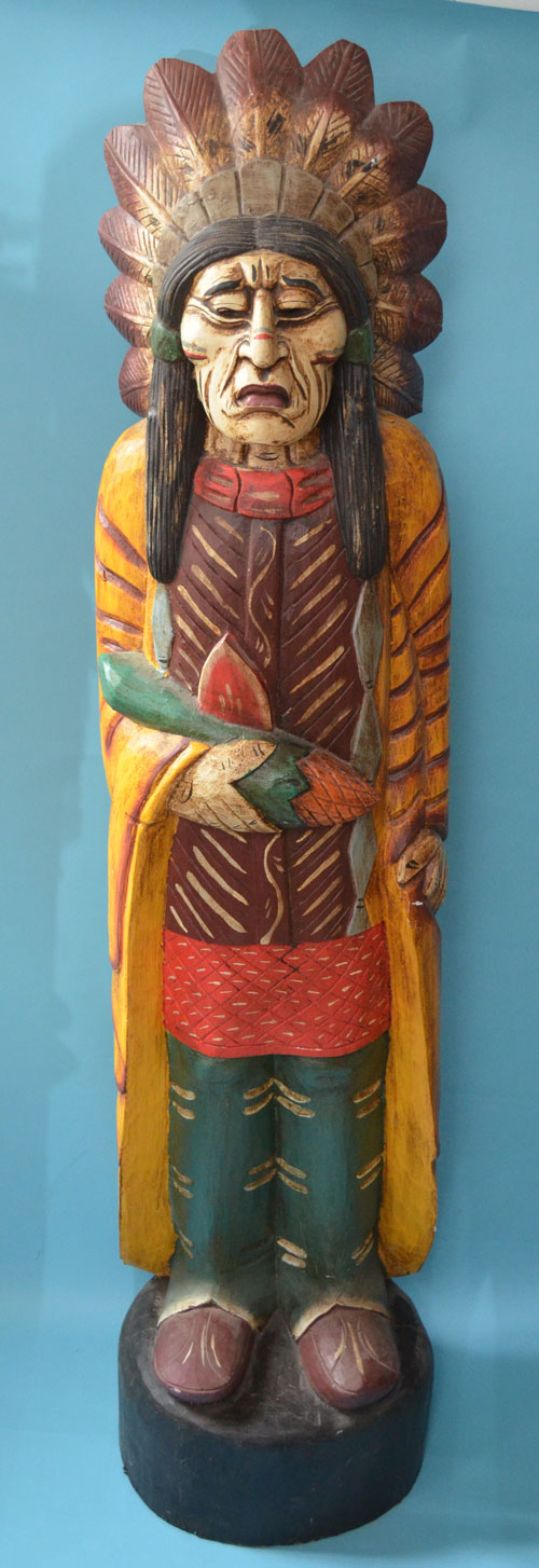 Tall Cigar Store Indian Style Carved Wood Statue