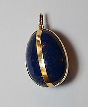 Huge Retro 14k Gold & Lapis Pendant