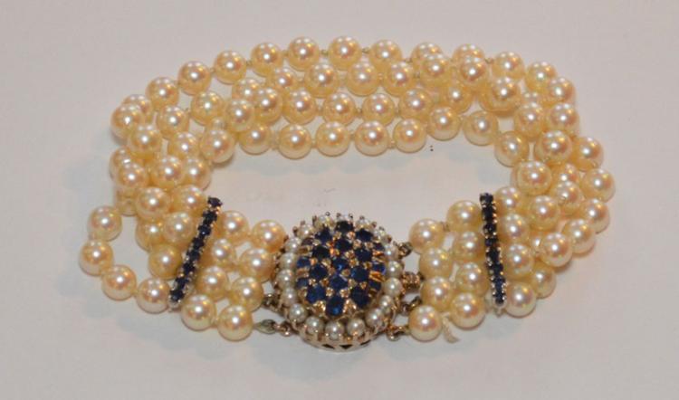 Truly Elegant Vintage 14k Gold & Pearl Bracelet