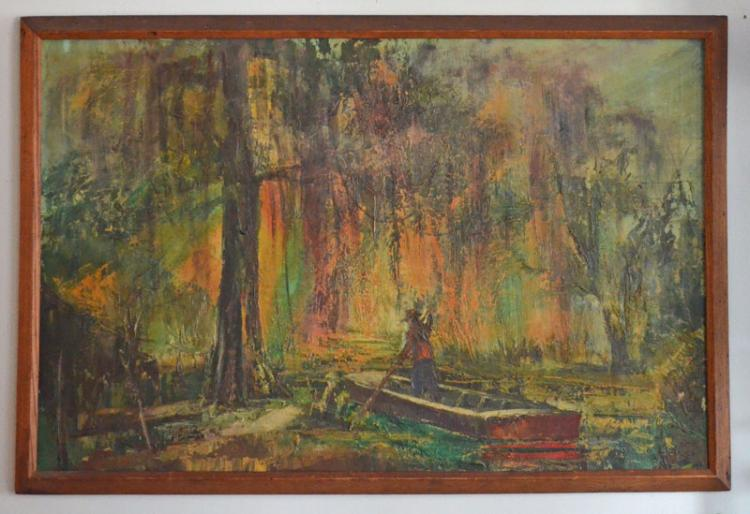 Stanley Sobossek O/C Painting of a Man Boating in Swamp