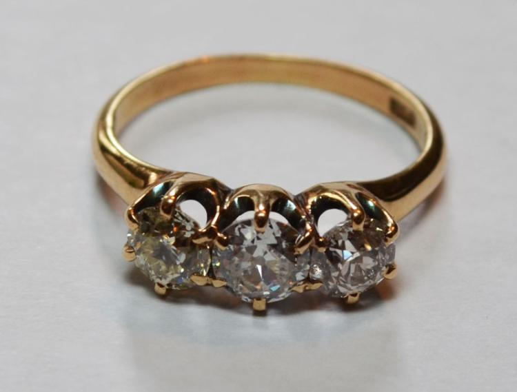 3 Stone 10k Gold & Diamond Ring