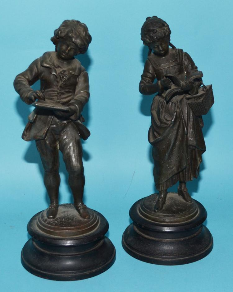 Pair of Wonderful Spelter Boy & Girl Statues
