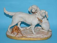 Large Royal Dux Porcelain Hunting Setters