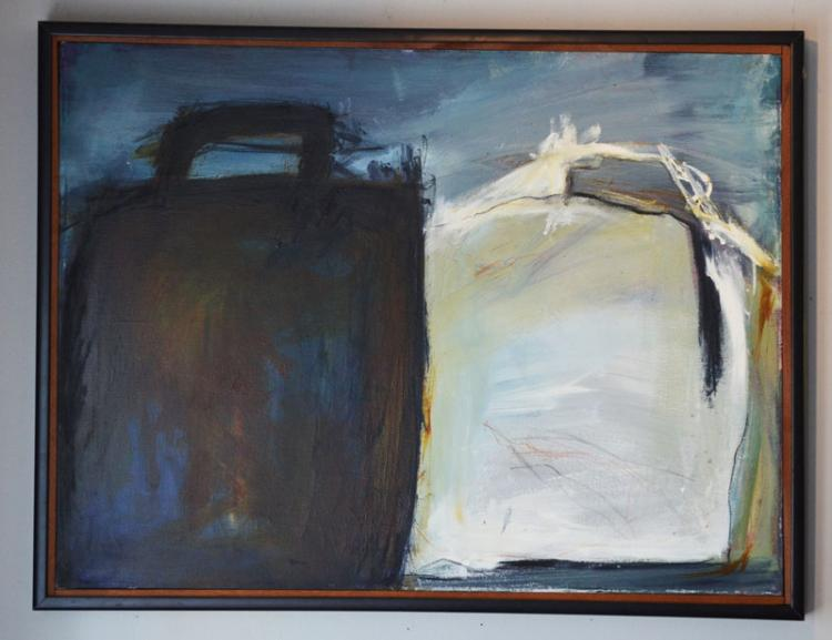 Mid Century Modern Abstract Suitcase Painting Scott Murray