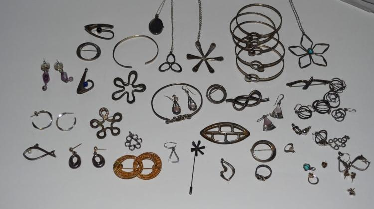 Lot of Sterling Jewelry (Necklaces, Pins, etc)