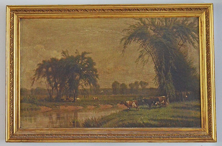 O/C Painting Signed Loveridge of Landscape w Cows