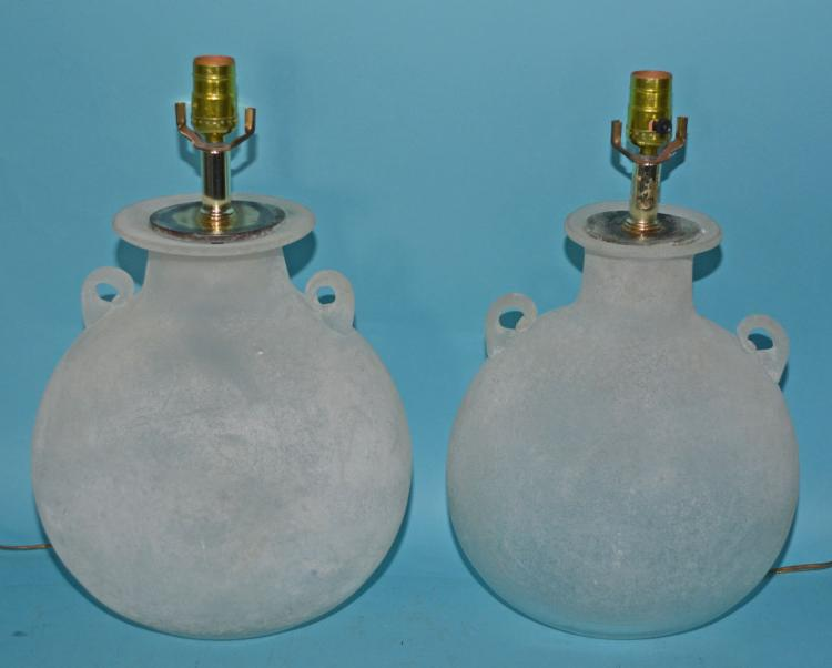 Pair of Scavo Frosted Glass Lamps