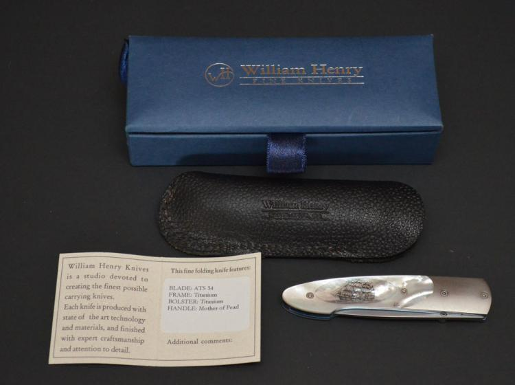 William Henry Titanium & MOP Scrimshawed Knife