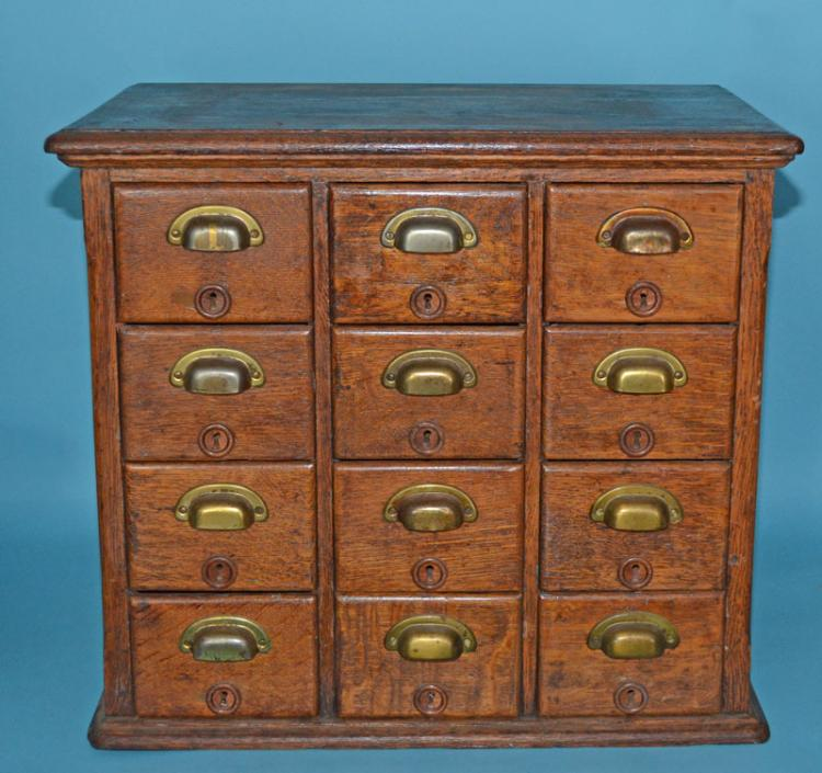Antique Oak & Brass Library Card Catalog Cabinet
