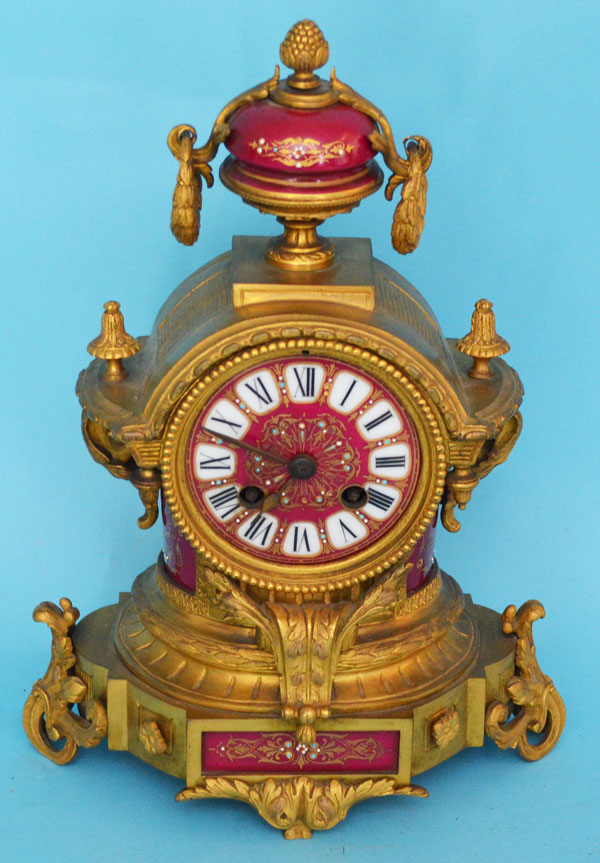 D'ore Bronze, Porcelain & Enamel French Clock