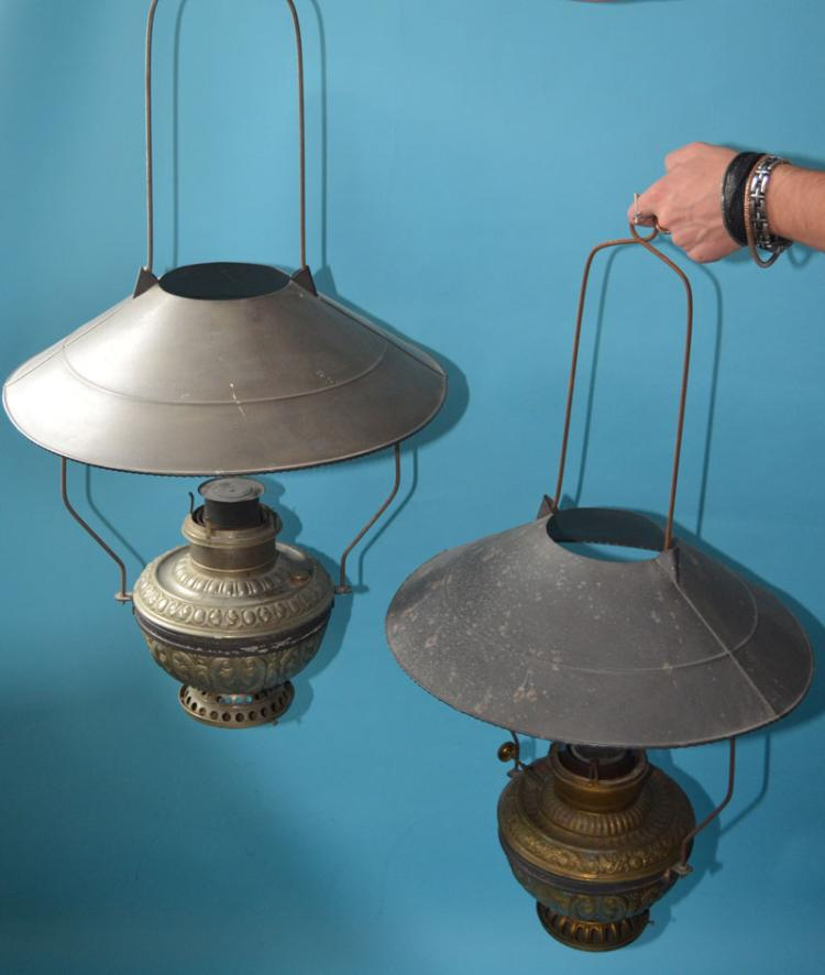 Two Tin Hanging Oil Lamps