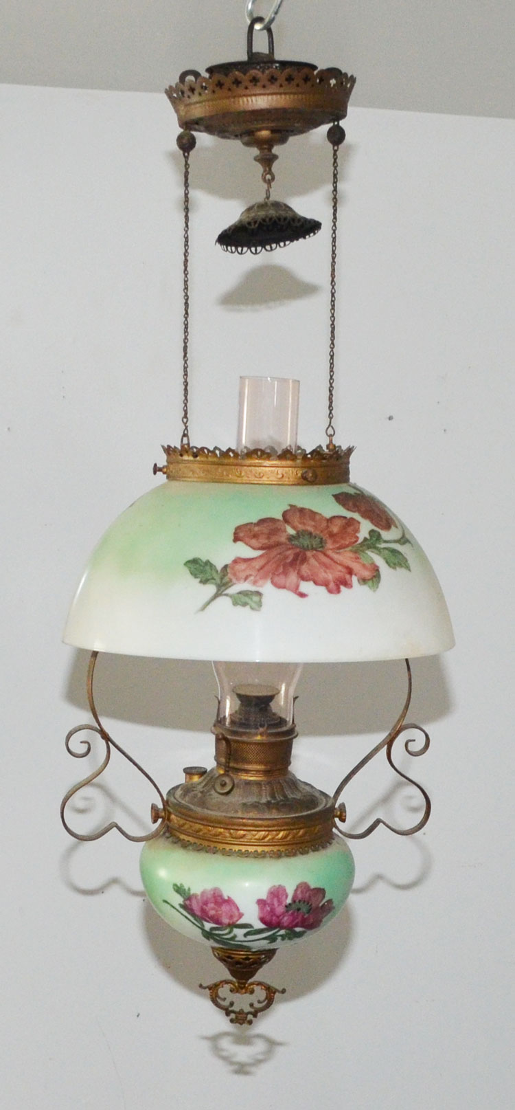 Painted Glass Hanging Oil Lamp Chandelier