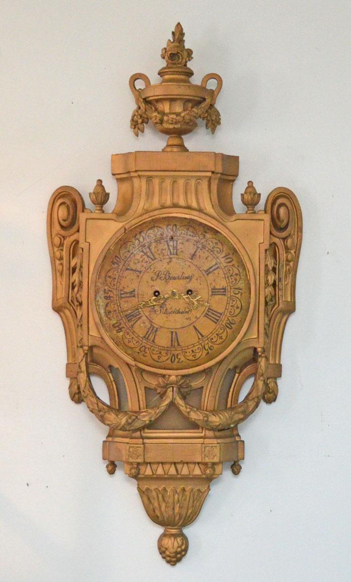 Beurling Gold Gilt Carved Wood Clock