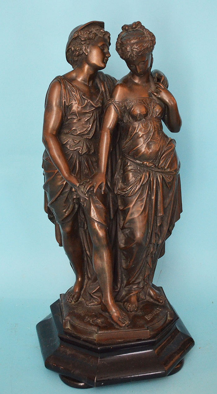Sweet Neoclassical Grecian Style Spelter Statue Bouret