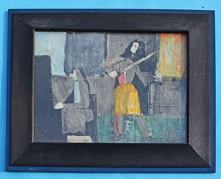 Michael Ross Abstract Mixed Media Musician Painting