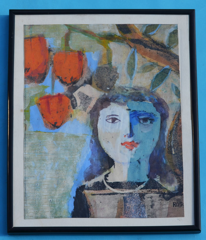 Michael Ross Mixed Media Abstract Painting of a Woman