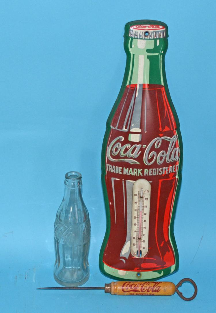 3 Vintage Coca-Cola Advertising Collectibles (Thermometer)