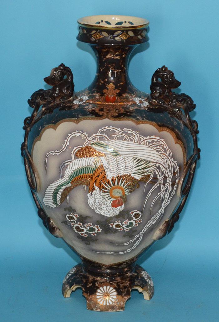 Monumental Japanese Satsuma Porcelain Vase w Phoenix