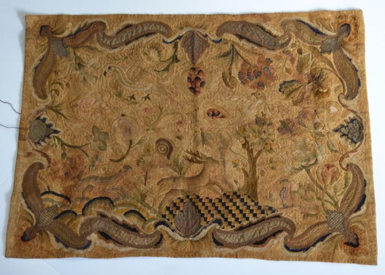 Early Silk Needlework Featuring Stag, Birds, Insects
