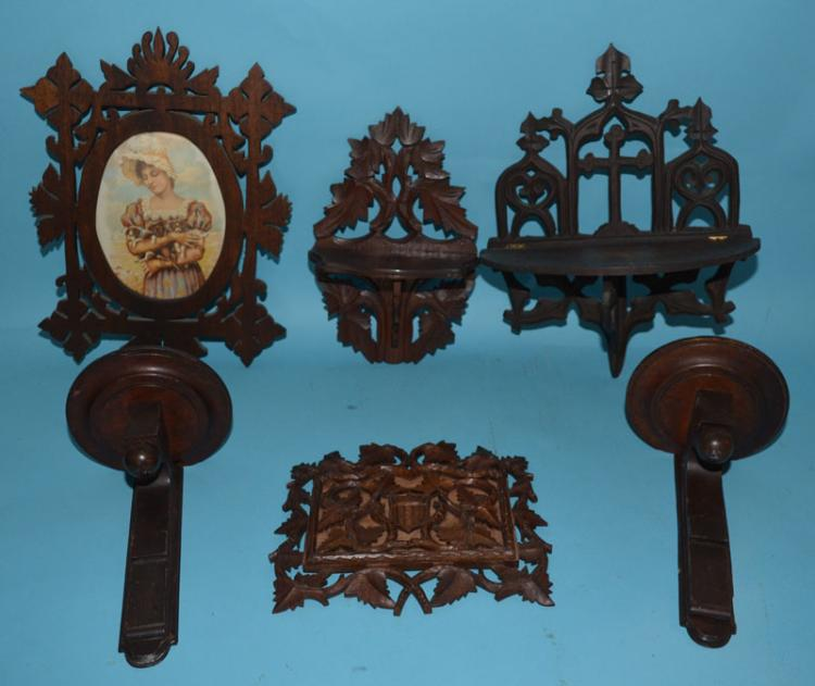 6 Antique Victorian Carved Wood Wall Accessories