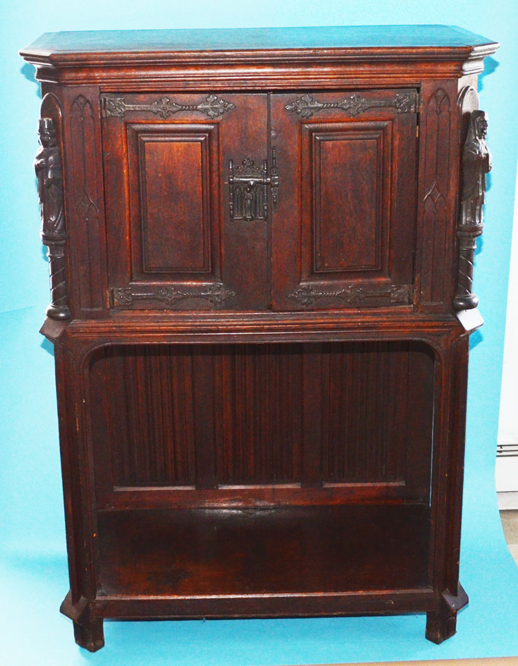 Carved Figural Walnut & Iron Gothic Reliquary Cabinet