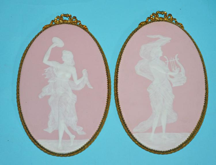 Pair of Limoges Pink Jasperware Plaques Camille Theraud