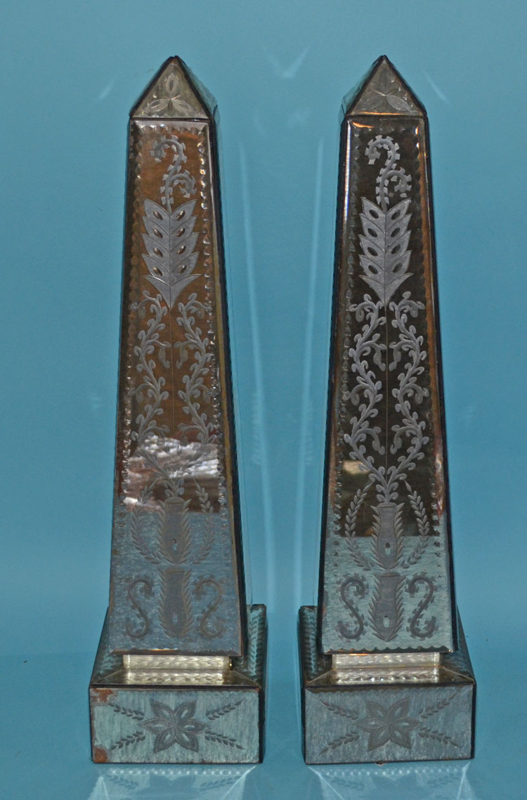 Pair of Etched Mirrored Obelisks