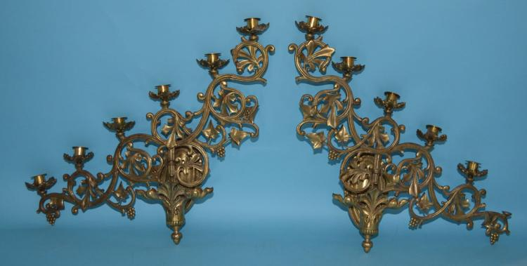 Pair of Ecclesiastical Bronze Sconces