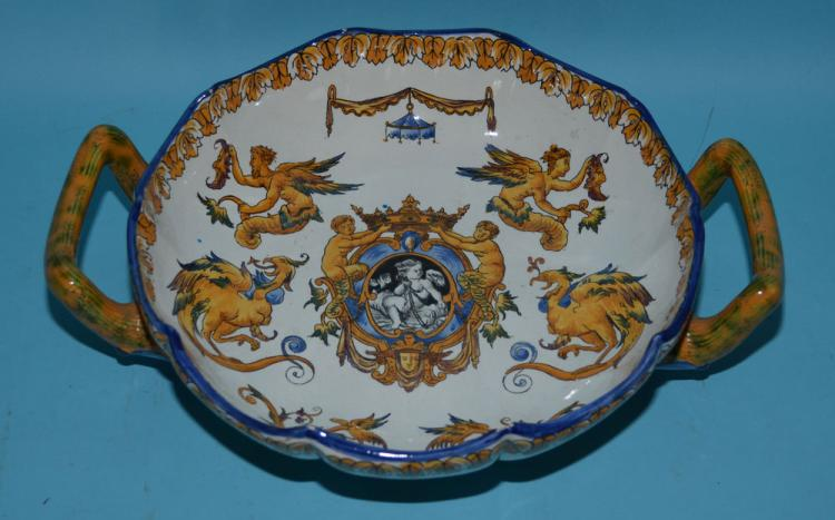 Gien French Faience Neoclassical Two Handled Bowl