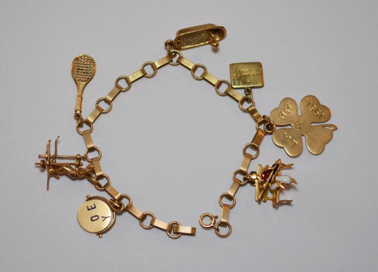 14K Gold  Older Charm Bracelet  ( Tennis, Musician ,Bench )