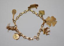 14K Gold  Older Charm Bracelet  ( Tennis, Musician ,Bench )