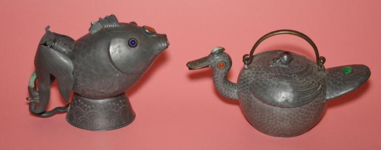 Rare Signed Chinese Pewter Tea Set With Stones