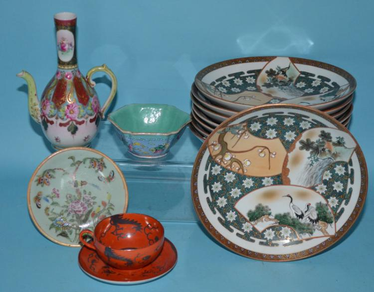 Large Lot of Signed Asian Porcelain Accessories