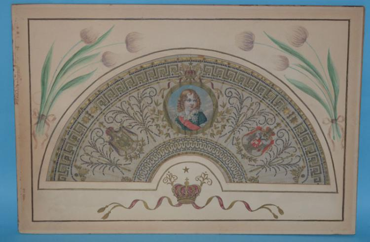 Wonderful Early French Painted Royal Fan
