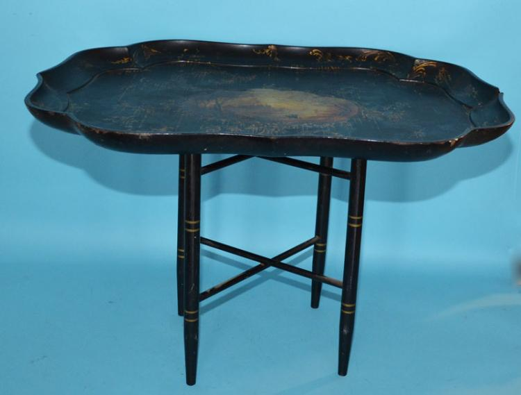 Painted Papier Mache Tray Table