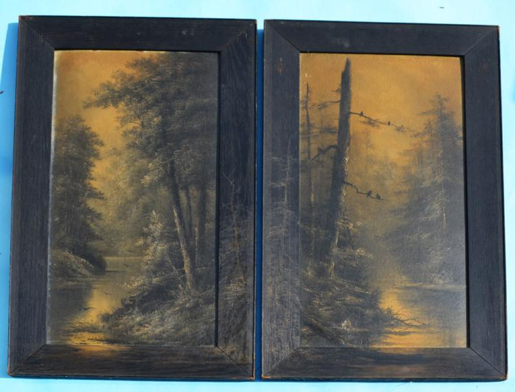 Pair Of Night Landscape Noir River Paintings