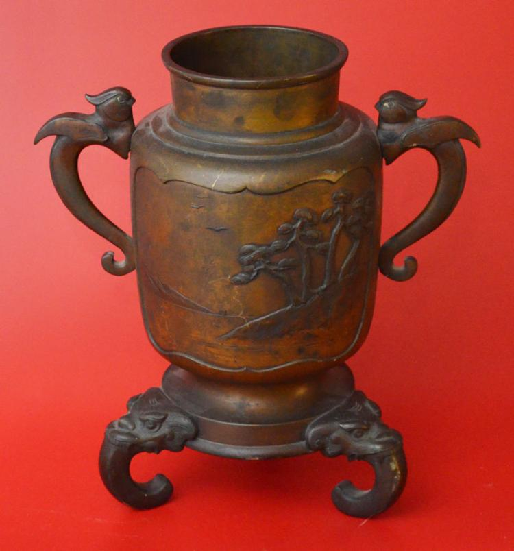Japanese Footed Bronze Vessel Censor
