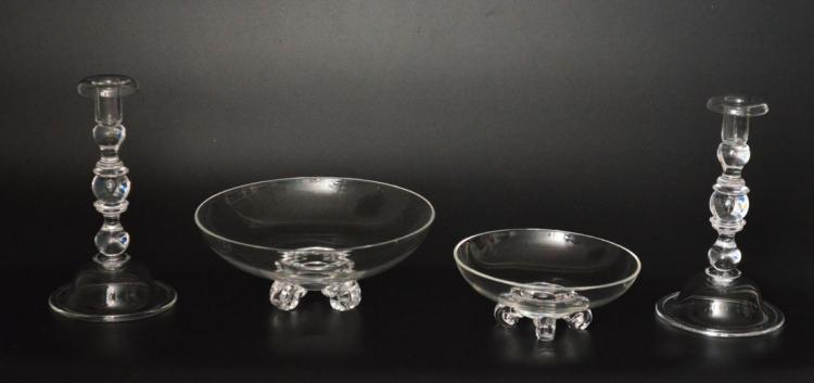 Steuben Lot with Footed Bowls & Teardrop Candlesticks