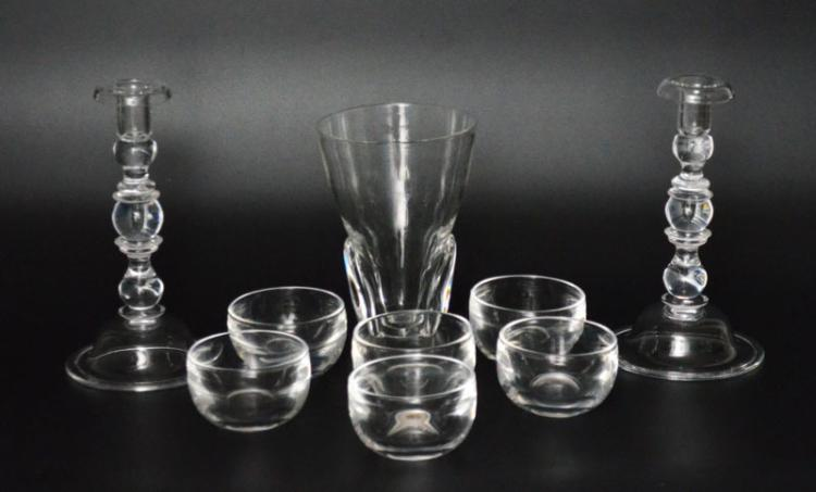 Steuben Lot w/ Candlesticks, Vase & 6 Bowls