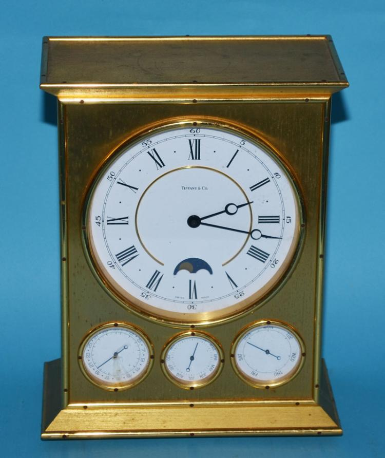 Tiffany & Co Brass Clock with Calendar